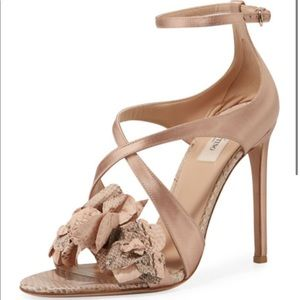 SALE ⚡️Valentino Snakeskin Flower Satin Sandals